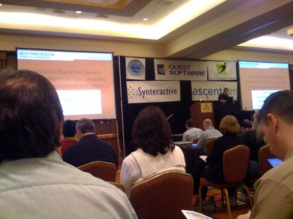Crappy iPhone shot of Joel Oleson's keynote