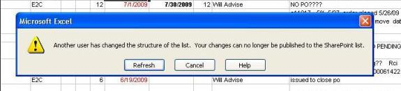 Excel 2003 SharePoint Sync Error
