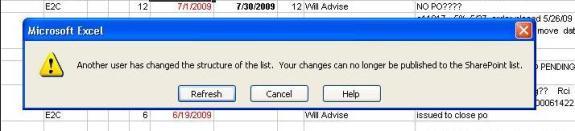 Excel 2003 SharePoint Sync Error