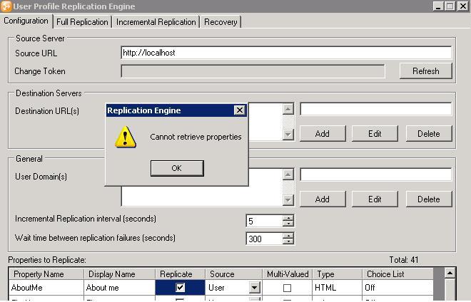 User Profile Replication Engine Error Cannot Retrieve