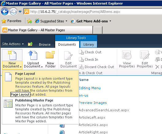 sharepoint 2010 page layout templates